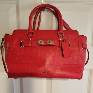 COACH BLAKE CARRYALL 25 IN CROC EMBOSSED LEATHER